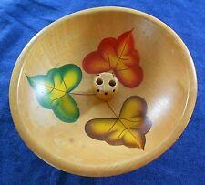 Wood Nut Bowl Painted Leaves Footed Farmhouse Decor Oak Leaf Dish Vintage Fall