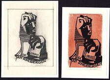 39)Nr.172-EXLIBRIS,Jan Batterman, Original Entwurf+ Holzschnitt ,  2 Blätter