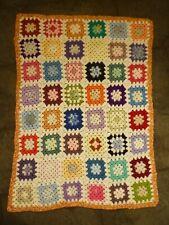 "Boho Retro Rainbow Crochet Granny Square Baby Blanket Lap Chair Cover 41"" x 31"""