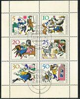 DDR 1966 Märchen (I): Tischlein deck dich. Gestempelter Kab.-Kleinbogen LEIPZIG