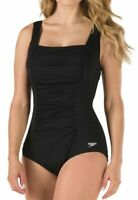 Speedo Black Women's Size 24 Plus Solid One-Piece Ruched Swimwear $88 #795