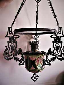 19th C. FRENCH ? MAJOLICA and Cast Iron Ceiling Light Chandelier with Portraits
