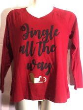 St John's Bay L Red Jingle All the Way Blouse Top Shirt Christmas Holiday F16