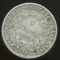 FRANCE  FRANCIA 1 franc CERES  1871 A  ARGENT  SILVER  ( grand A  )