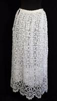 "RARE ANTIQUE FRENCH LONG EDWARDIAN WHITE COTTON LACE PETTICOAT SKIRT 27"" WAIST"