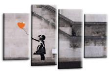 Le Reve Banksy Canvas Art Balloon Girl Black Grey White Orange Graffiti Split