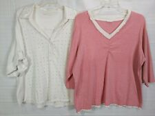 UNKNOWN Women's Plus 2pack Pink & White 3/4S Pullover Stretch Tops size 1X/2X(?)