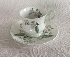 Queen's/Rosina Bone China England Tea Cup & Saucer, Tiny White Flower strawberry