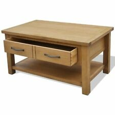 Oak Coffee Table with Drawers for Apartment Solid Wood Storage 17H x 34L x 20W