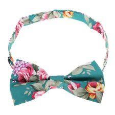Hawaiian Shirt Bow Tie Light Blue Flower Floral BowTie Luau Hawaii US SELLER