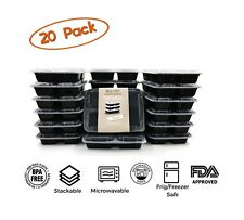 20 Meal Prep Containers Food Storage Plastic Reusable Microwavable 3 Compartment