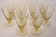 9 Nine Rare Morgantown Pagoda Topaz Glasses Yellow Glass Ring Stem Juice? Set