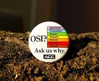 "OSI ? Ask us Why ACC Retro Computer Tech Round Pin 1 3/4"" Pinback Metal Button"