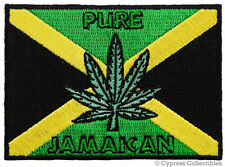 PURE JAMAICA embroidered iron-on PATCH RASTA MARIJUANA LEAF EMBLEM SOUVENIR new