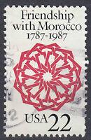USA Briefmarke gestempelt 22c Friendship Morocco 1787 - 1987 Rundstempel / 558