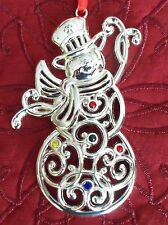 Lenox Sparkle & and Scroll Snowman Christmas Ornament NIB - Multi Crystal