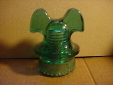 "Pat. 1893 Hemingray ""Mickey Mouse"" Green Glass Insulator"