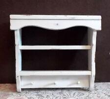 Wood Wall Shelf Curio 2 Shelves Pegs White Cottage Farmhouse Rustic