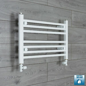 650mm Wide 400mm High Straight White Heated Towel Rail Radiator Bathroom Rad