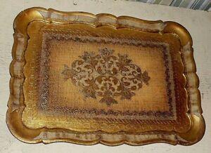 "Vintage ITALIAN ITALY Florentine gold gilt WOODEN TRAY. Three designs. 16 5/8 ""."