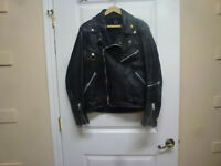 Hein Gericke CCI California Black Leather Jacket Men's Size 42  Pre-owned
