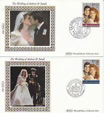 22 JULY 1986 ROYAL WEDDING PAIR OF BENHAM SMALL SILK FIRST DAY COVERs SHSs (a)