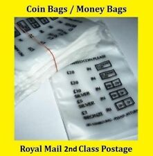 20 Plastic Coin Bags Money Bank Bags No Mixed Coins !BUY 3pks GET 2pks FREE!