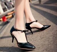 Women Sweet Pointed Toe Ankle T-Strap Stiletto Mid Heel Bowknot Party Pump Shoes