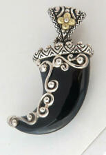 BARBARA BIXBY Onyx Horn in Sterling 18k flower accents, Enhancer Pendant