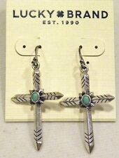 LUCKY BRAND EARRINGS, BEAUTIFUL SILVERTONE CROSS EARRINGS W/ TURQUOISE, NWT