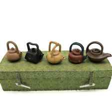 Vintage Yixing Teapots Miniature Tea Set 5 Piece Chinese Clay Pottery with Case