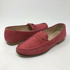55cec49a43e J.Crew James Suede Penny Loafers Red Flats Made In Italy G0887 Women s Size  6