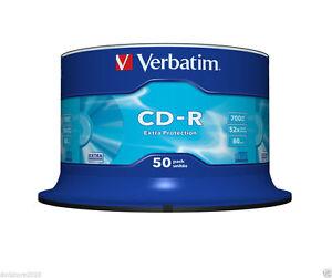 50 CD -R VERBATIM Vergini CDR 52X 700MB 80 MINUTI AUDIO MP3 MUSICA 43351