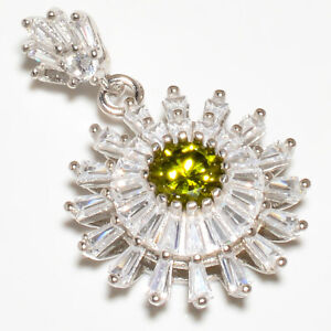 "Burmese Peridot & White Topaz 925 Sterling Silver Jewelry Pendant 1.25"" S1990"