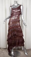 MISSONI Womens Brown Knit Striped Asymmetrical Sleeveless Maxi Shift Dress 40/4