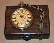 Vintage antique maritime brass pocket watch kelvin & hughes with wooden box gift