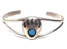 Navajo Handmade Sterling Silver Turquoise Bear Paw Bracelet