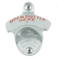 """Open bottle here"" wall mounted beer bottle opener bar decor with screws silver"