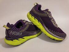 Hoka One One Clifton 5 Running Shoes Women's 8.5 Purple Green Neon