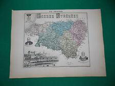 BASSES-PYRENEES CARTE ATLAS MIGEON Edition 1885, Carte + fiche descriptive