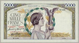 FRANCE 5000 FRANCS VICTOIRE 1943 XF+ LARGE SIZE NOTE BEAUTIFUL &  RARE BANKNOTE