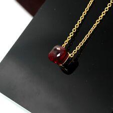 Collana Pendente Piazza Cristallo Rosso Rubino Sfaccettata Placcato Oro 18K ND5