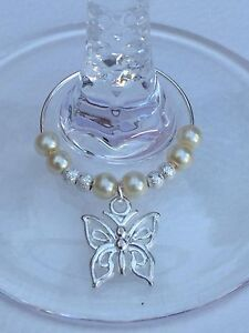 60 Ivory Wine Glass Charms With Butterflies. Wedding. Favours. Christening.
