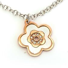Sterling silver 925 Italian mother of pearl flower necklace rose gold plated