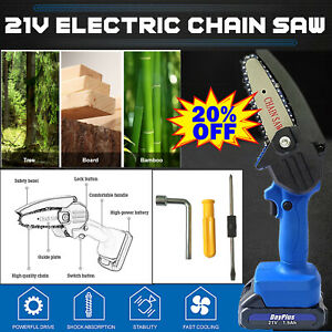 """4"""" Cordless Electric Chainsaw Battery Saw Cutter for Cutting Tree Wood Branches"""