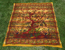 Tree Of Life Indian Tapestry Bed Sheet Bed Cover Wallhanging Cotton Queen GOLD