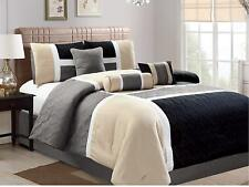 7-Piece Comforter Set Bed in Bag Luxury Quilted Patchwork King Size Black Color