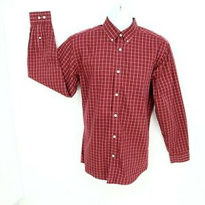 Eddie Bauer Dress Shirt Mens Sz M Red Plaid Wrinkle Free Relaxed Fit Long Sleeve