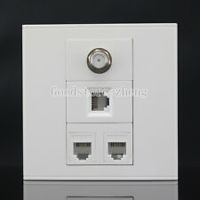 Wall Face Plate 4 Port F-TYPE COAX TV Adapter Connector + RJ11 Telphon Faceplate