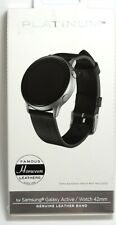Platinum - Leather Band for Samsung Galaxy Watch Active and Active 2 - Black